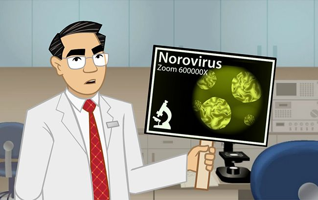Animated instructor teaching about norovirus and other foodborne illnesses